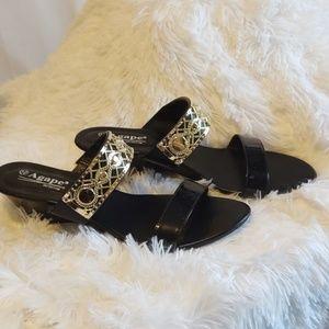 Agape gold and black sandal